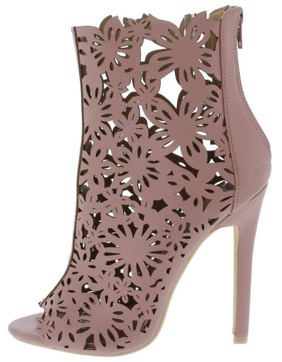 Dalia01 Blush Floral Caged Stiletto Ankle Boot - Wholesale Fashion Shoes
