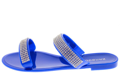 Dalia03 Blue Rhinestone Jelly Sandal - Wholesale Fashion Shoes