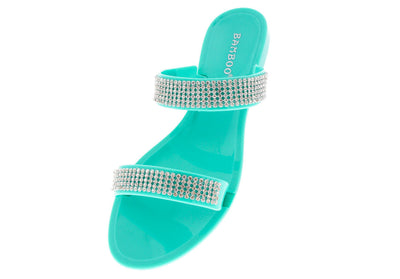 Dalia03 Seafoam Rhinestone Jelly Sandal - Wholesale Fashion Shoes