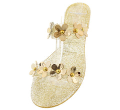 DALIA05 GOLD FLOWER 2 STRAP JELLY SANDAL - Wholesale Fashion Shoes