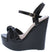 Dalia12 Black Pu Bow Knotted Open Toe Platform Wedge