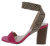 Dalina Fuchsia Open Toe Cross Back Ankle Strap Stacked Heel - Wholesale Fashion Shoes