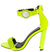Destiny091 Yellow Watch Open Toe Ankle Strap Block Heel
