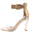 Leslie089 Rose Gold Lucite Open Toe Sparkle Ankle Strap Heel - Wholesale Fashion Shoes