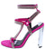 Leticia248 Pink Rhinestone Strappy Open Toe Metallic Heel
