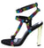 Leticia248 Rainbow Rhinestone Strappy Open Toe Metallic Heel