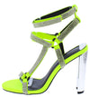 Leticia248 Yellow Rhinestone Strappy Open Toe Metallic Heel - Wholesale Fashion Shoes