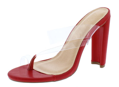 Meyer296 Red Lucite Thong Open Toe Block Heel - Wholesale Fashion Shoes
