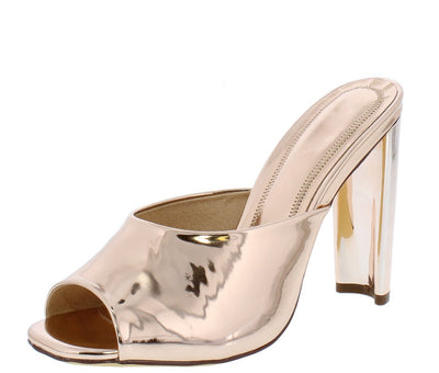 Mila127 Rose Gold Peep Toe Metallic Mule Slide Heel - Wholesale Fashion Shoes