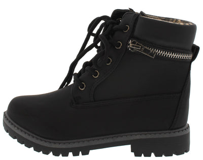 Dallas10k Black Zipper Utility Ankle Kids Boot - Wholesale Fashion Shoes