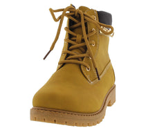 DALLAS10K ZIPPER UTILITY ANKLE CAMEL KIDS BOOT - Wholesale Fashion Shoes