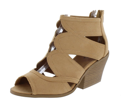 Dalton14 Toffee Suede Cut Out Peep Toe Slanted Stacked Heel - Wholesale Fashion Shoes