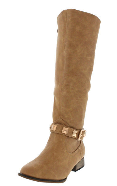 Dalton2 Beige Studded Riding Boot - Wholesale Fashion Shoes