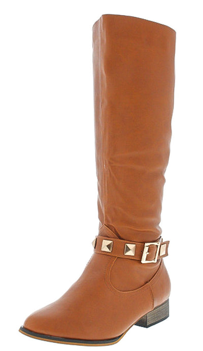 Dalton2 Cognac Studded Riding Boot - Wholesale Fashion Shoes