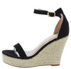 Damita16 Black Open Toe Ankle Strap Platform Espadrille Wedge - Wholesale Fashion Shoes