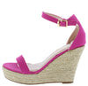 Damita16 Fuchsia Open Toe Ankle Strap Platform Espadrille Wedge - Wholesale Fashion Shoes