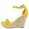 Damita16 Mustard Open Toe Ankle Strap Platform Espadrille Wedge - Wholesale Fashion Shoes