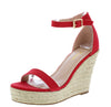 Damita16 Red Open Toe Ankle Strap Platform Espadrille Wedge - Wholesale Fashion Shoes