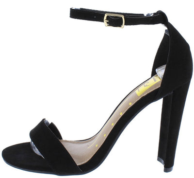 Dana02 Black Suede Fabric Open Toe Ankle Strap Tapered Heel - Wholesale Fashion Shoes