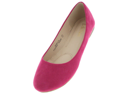 Dana12 Fuchsia Faux Suede Flat - Wholesale Fashion Shoes