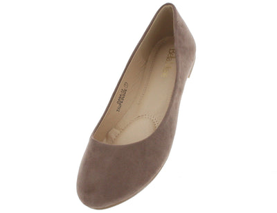 Dana12 Taupe Faux Suede Flats - Wholesale Fashion Shoes