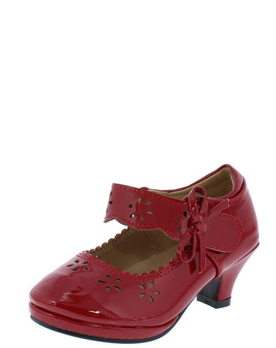 Dana67k Red Patent Lasercut Scalloped Mary Jane Kids Low Heel - Wholesale Fashion Shoes