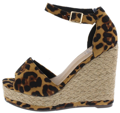 Danette01 Leopard Peep Toe Ankle Strap Espadrille Wedge - Wholesale Fashion Shoes