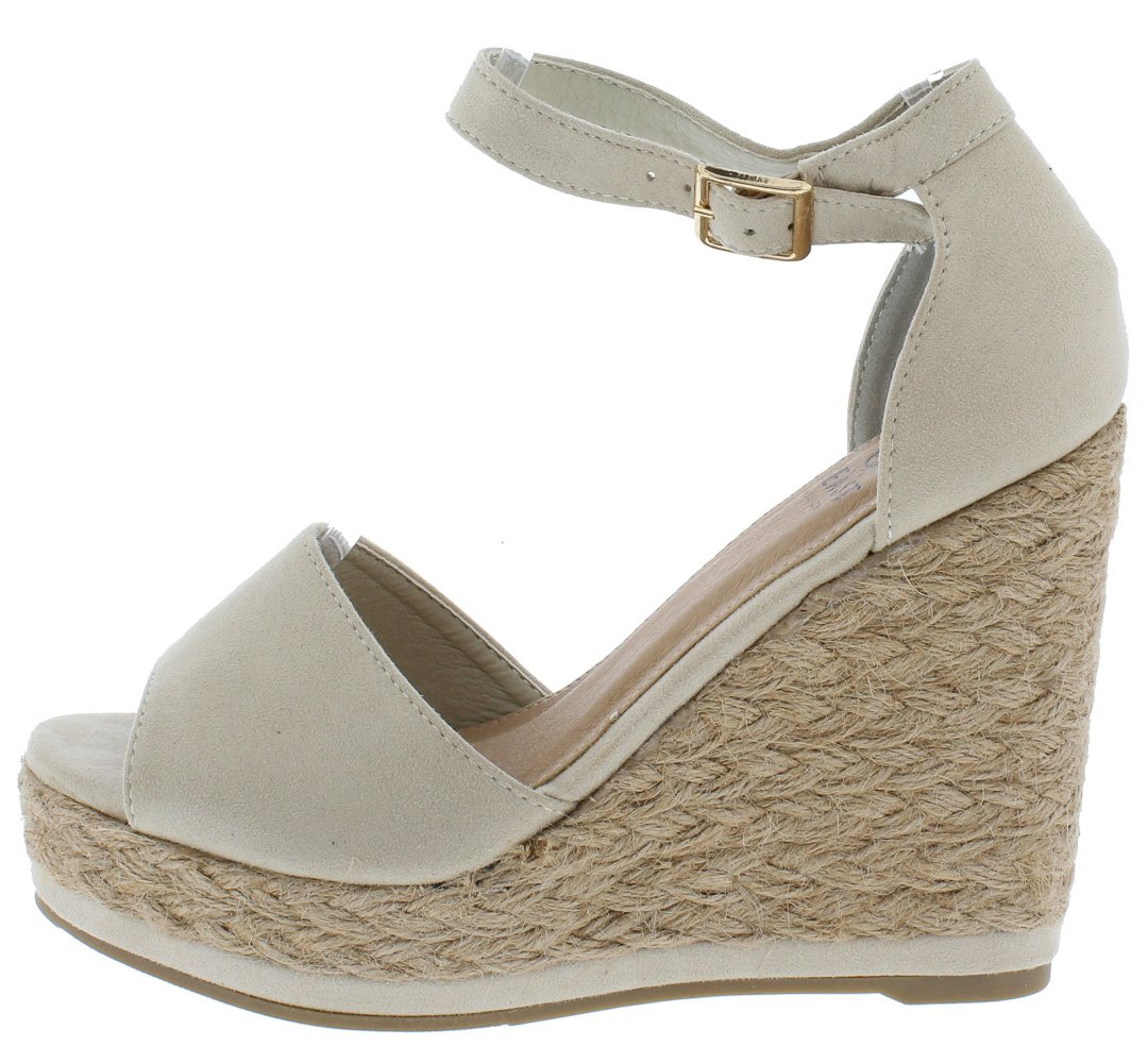dceeee34501 Danette01 Nude Peep Toe Ankle Strap Espadrille Wedges Only  10.88 -  Wholesale Fashion Shoes