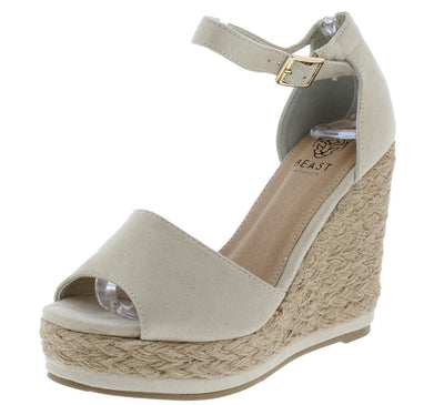 Danette01 Nude Peep Toe Ankle Strap Espadrille Wedge - Wholesale Fashion Shoes