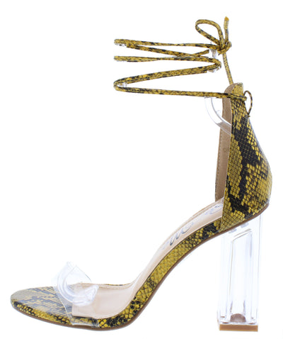 Dania Yellow Open Toe Ankle Wrap Lucite Block Heel - Wholesale Fashion Shoes