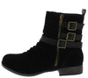 Monique038 Black Suede Ruched Multi Buckle Boot - Wholesale Fashion Shoes