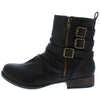 Monique038 Black Pu Ruched Multi Buckle Boot - Wholesale Fashion Shoes
