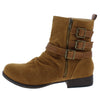 Monique038 Tan Suede Ruched Multi Buckle Boot - Wholesale Fashion Shoes