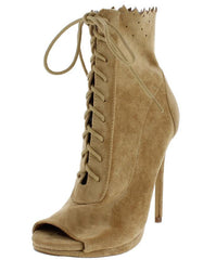 GRETCHEN52 NUDE LASER CUT LACE UP PEEP TOE BOOT - Wholesale Fashion Shoes