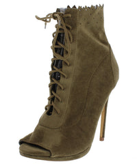 GRETCHEN52 OLIVE LASER CUT LACE UP PEEP TOE BOOT - Wholesale Fashion Shoes