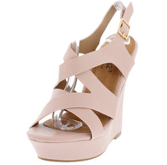DANIELIA5 OFF PINK CROSS STRAP COLOR MATCHED WEDGE - Wholesale Fashion Shoes
