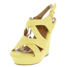 DANIELIA5 YELLOW CROSS STRAP COLOR MATCHED WEDGE - Wholesale Fashion Shoes