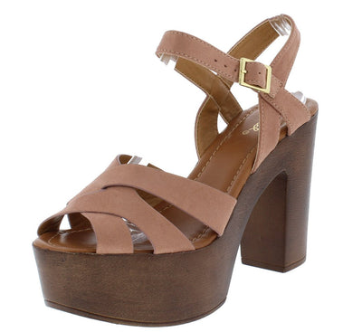 Danya01 Blush Suede Pu Peep Toe Slingback Wood Platform Heel - Wholesale Fashion Shoes