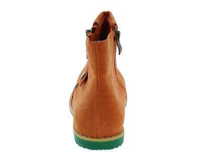 Darby02 Orange Fold Over Side Zip Ankle Boot - Wholesale Fashion Shoes
