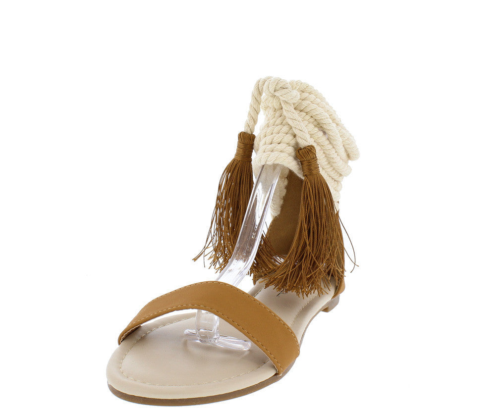Sandals and shoes wholesale -  Darby16 Tan Pu Rope Tassel Two Tone Open Toe Sandal Wholesale Fashion Shoes