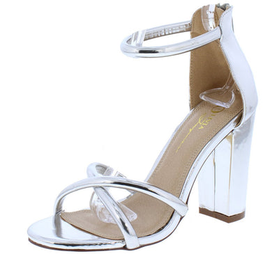 Darcia Silver X Strap Open Toe Ankle Strap Chunky Heel - Wholesale Fashion Shoes