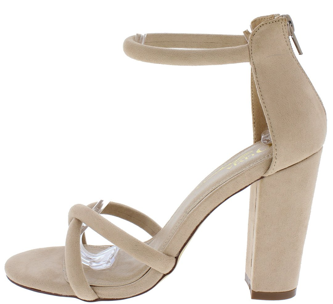764c8b6c0d7 Darcia Taupe X Strap Open Toe Ankle Strap Chunky Heel - Wholesale Fashion  Shoes