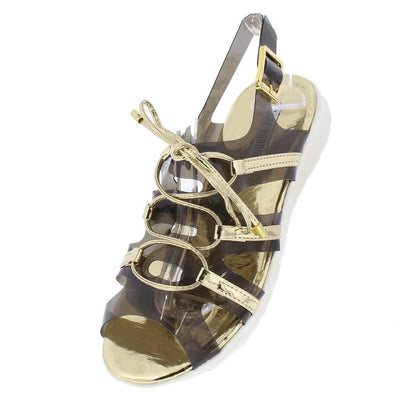 Darcy3 Gold Clear Metallic Lace Up Slingback Sandal - Wholesale Fashion Shoes