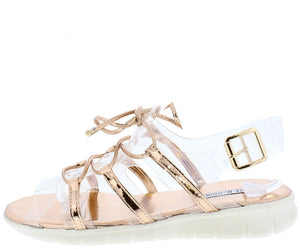 2038d0d2b Darcy3 Rose Gold Clear Metallic Lace Up Slingback Sandal - Wholesale  Fashion Shoes