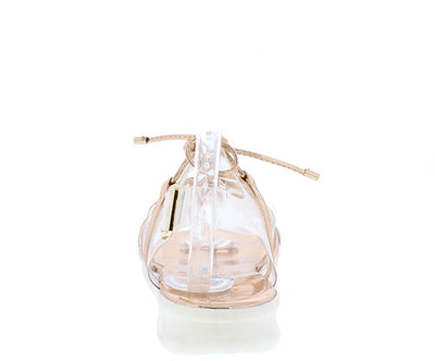 Darcy3 Rose Gold Clear Metallic Lace Up Slingback Sandal - Wholesale Fashion Shoes