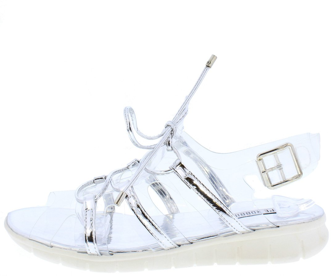 c0f92e3db94 Darcy3 Silver Clear Metallic Lace Up Slingback Sandal - Wholesale Fashion  Shoes