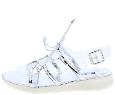 Darcy3 Silver Clear Metallic Lace Up Slingback Sandal - Wholesale Fashion Shoes