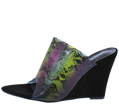 Daring Black Open Toe Lucite Mule Slide Wedge - Wholesale Fashion Shoes