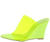 Daring Lime Open Toe Lucite Mule Slide Wedge - Wholesale Fashion Shoes