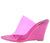 Daring Pink Open Toe Lucite Mule Slide Wedge